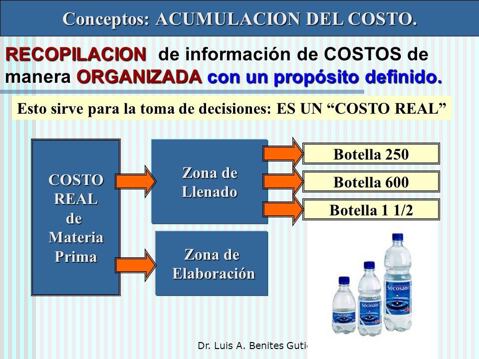 Dr. Luis A. Benites Gutiérrez Conceptos: ACUMULACION DEL COSTO. RECOPILACION de información de COSTOS de manera ORGANIZADA con un propósito definido.