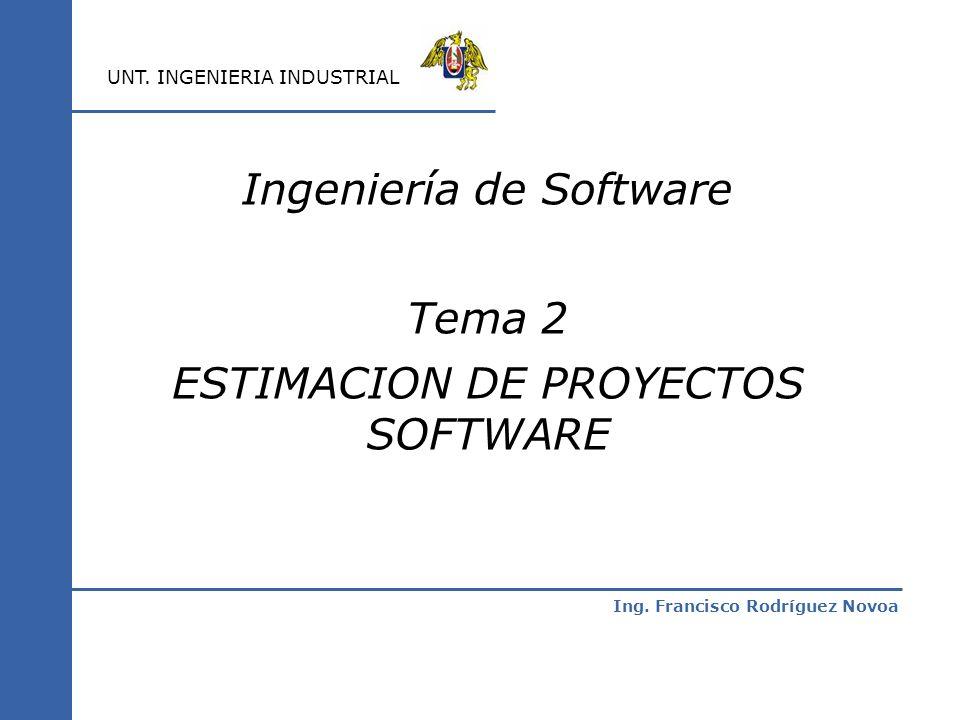 Ing. Francisco Rodríguez Novoa UNT. INGENIERIA INDUSTRIAL Ingeniería de Software Tema 2 ESTIMACION DE PROYECTOS SOFTWARE