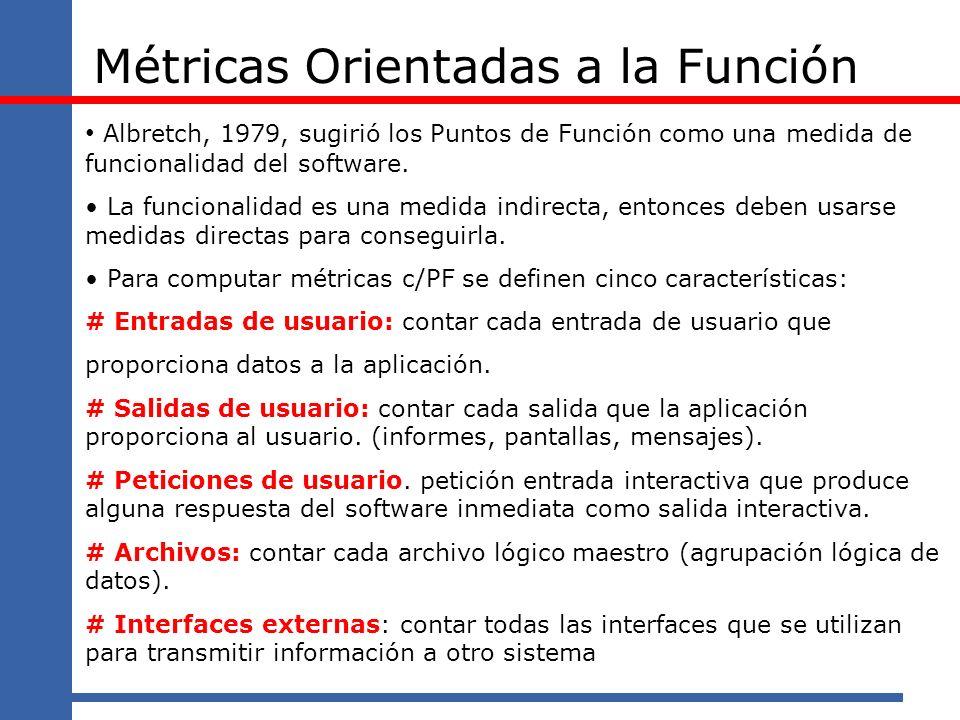 Métricas Orientadas a la Función Albretch, 1979, sugirió los Puntos de Función como una medida de funcionalidad del software. La funcionalidad es una