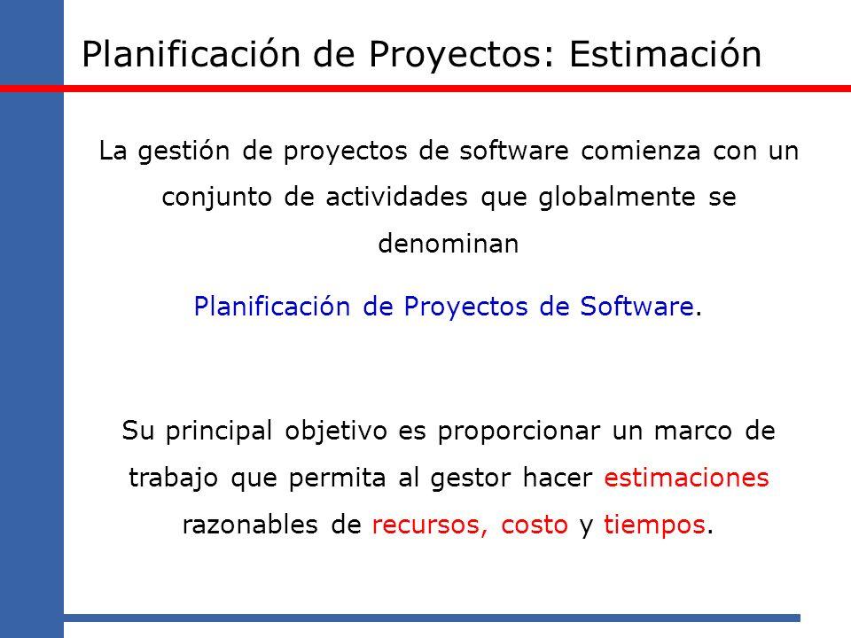 Planificación de Proyectos: Estimación La gestión de proyectos de software comienza con un conjunto de actividades que globalmente se denominan Planif