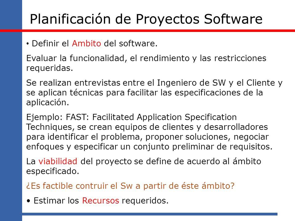 Planificación de Proyectos Software Definir el Ambito del software. Evaluar la funcionalidad, el rendimiento y las restricciones requeridas. Se realiz