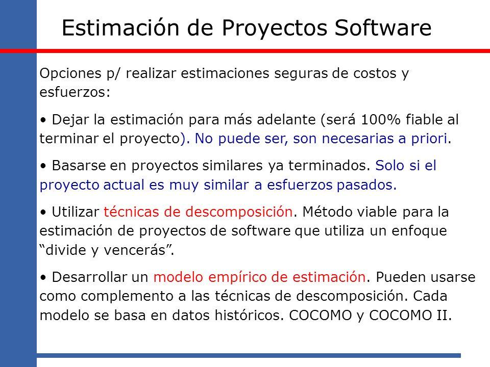 Estimación de Proyectos Software Opciones p/ realizar estimaciones seguras de costos y esfuerzos: Dejar la estimación para más adelante (será 100% fia