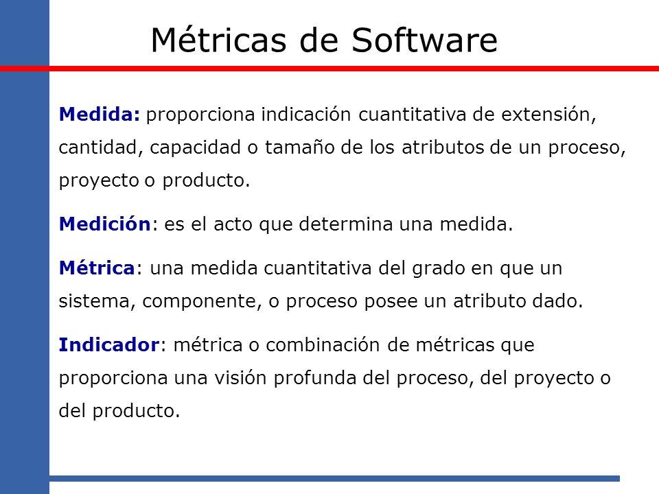 Métricas de Software Medida: proporciona indicación cuantitativa de extensión, cantidad, capacidad o tamaño de los atributos de un proceso, proyecto o
