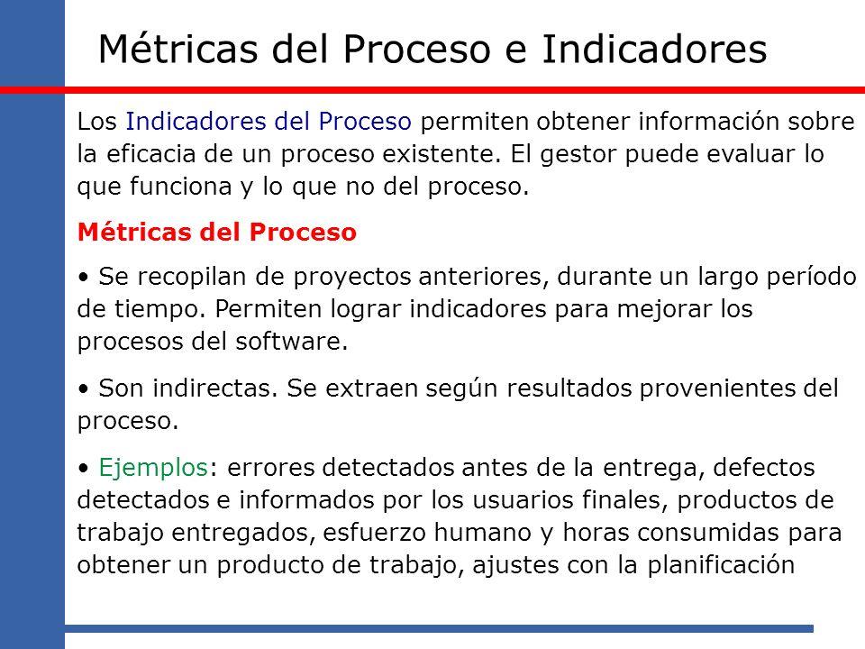 Métricas del Proceso e Indicadores Los Indicadores del Proceso permiten obtener información sobre la eficacia de un proceso existente. El gestor puede