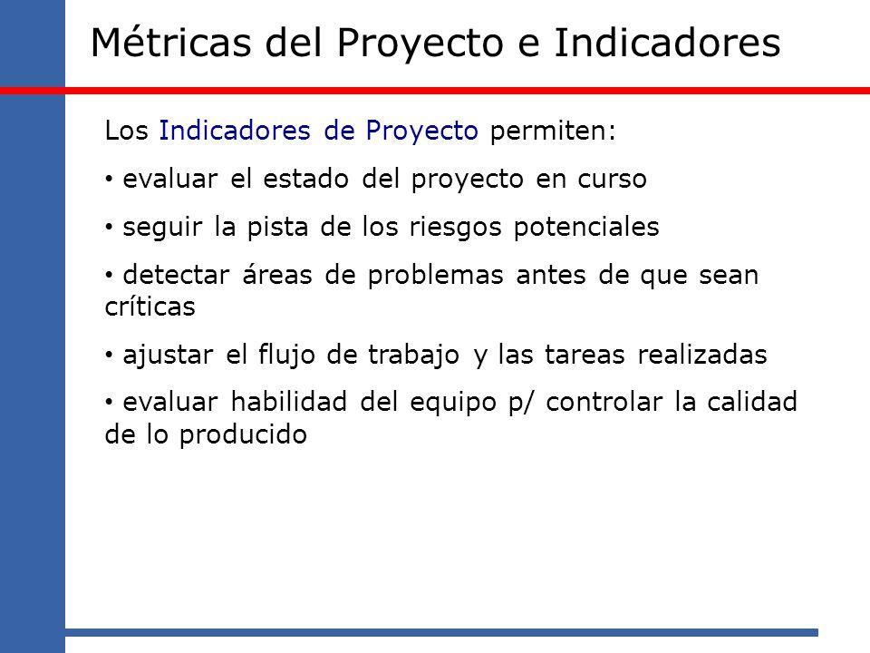Métricas del Proyecto e Indicadores Los Indicadores de Proyecto permiten: evaluar el estado del proyecto en curso seguir la pista de los riesgos poten
