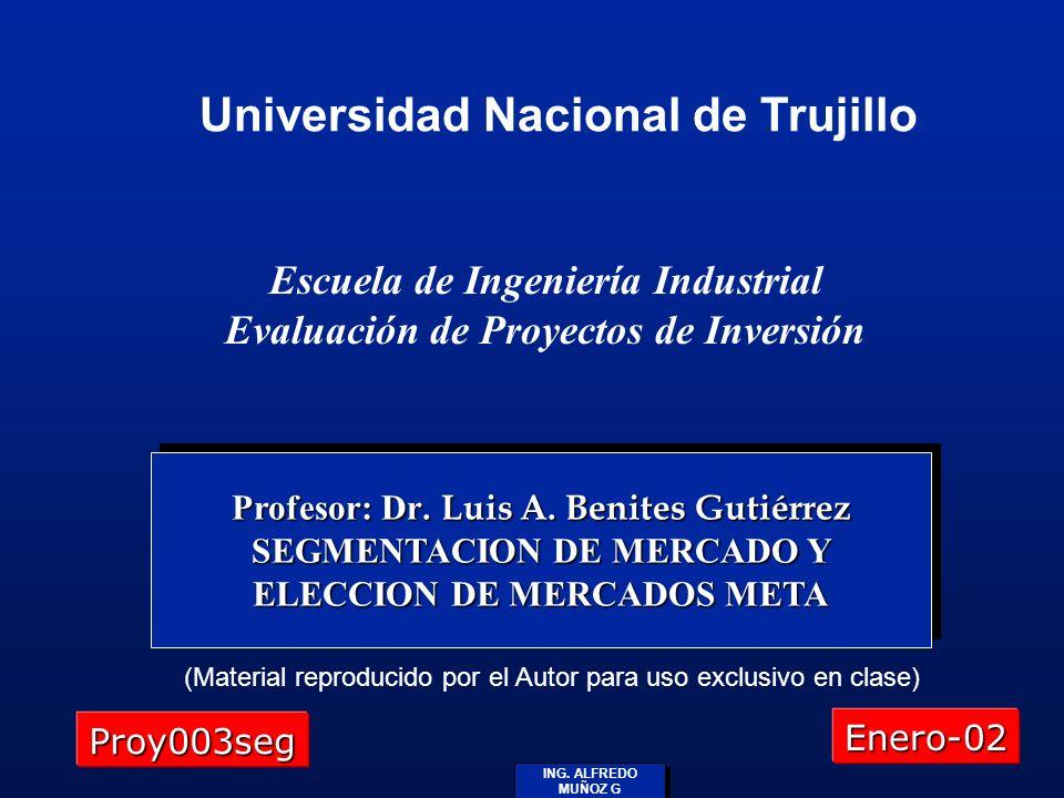 ING. ALFREDO MUÑOZ G Profesor: Dr. Luis A. Benites Gutiérrez SEGMENTACION DE MERCADO Y ELECCION DE MERCADOS META (Material reproducido por el Autor pa