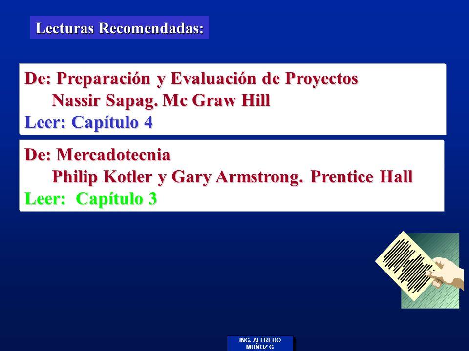 ING. ALFREDO MUÑOZ G Lecturas Recomendadas: De: Preparación y Evaluación de Proyectos Nassir Sapag. Mc Graw Hill Nassir Sapag. Mc Graw Hill Leer: Capí