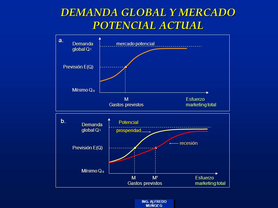 ING. ALFREDO MUÑOZ G DEMANDA GLOBAL Y MERCADO POTENCIAL ACTUAL Demanda global Q Previsión E(Q) Mínimo Q. M Gastos previstos Esfuerzo marketing total D