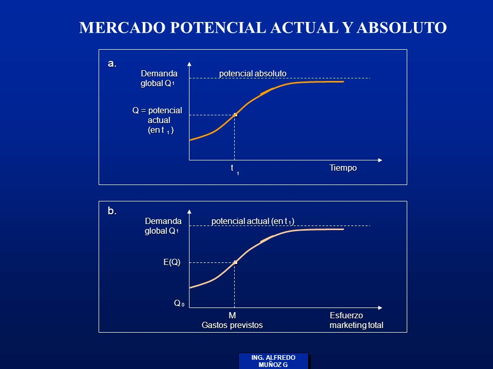 ING. ALFREDO MUÑOZ G MERCADO POTENCIAL ACTUAL Y ABSOLUTO Demanda global Q Q = potencial actual (en t ). Tiempo Demanda global Q E(Q) Q M Gastos previs