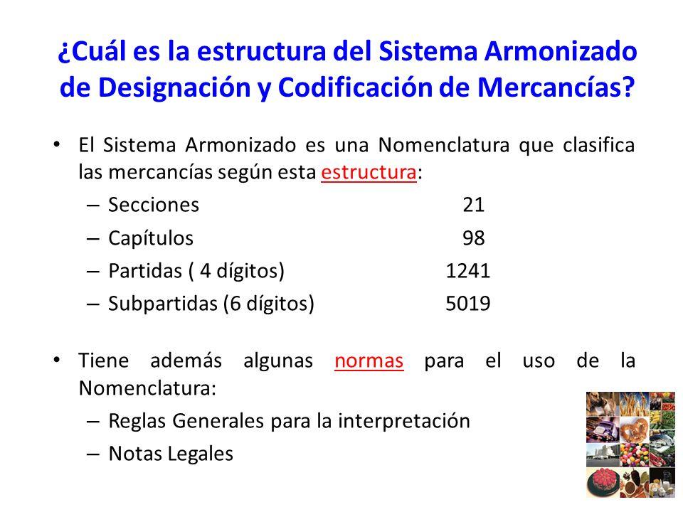 ¿Cuál es la estructura del Sistema Armonizado de Designación y Codificación de Mercancías? El Sistema Armonizado es una Nomenclatura que clasifica las