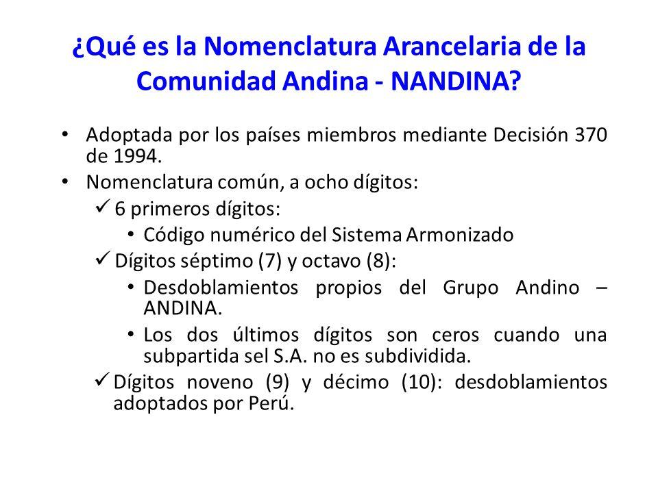 Adoptada por los países miembros mediante Decisión 370 de 1994. Nomenclatura común, a ocho dígitos: 6 primeros dígitos: Código numérico del Sistema Ar
