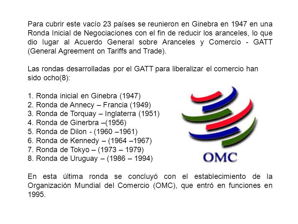 Para cubrir este vacío 23 países se reunieron en Ginebra en 1947 en una Ronda Inicial de Negociaciones con el fin de reducir los aranceles, lo que dio