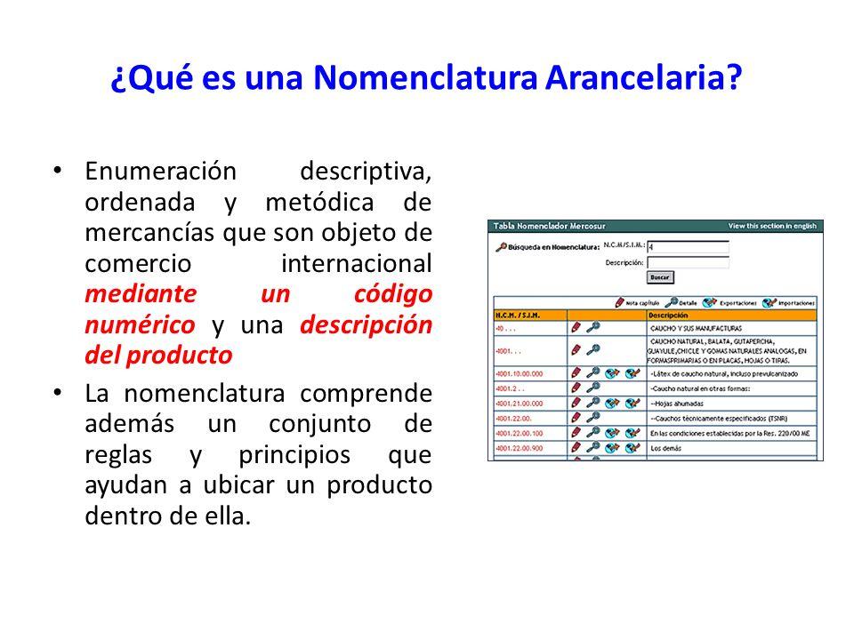 ¿Qué es una Nomenclatura Arancelaria? Enumeración descriptiva, ordenada y metódica de mercancías que son objeto de comercio internacional mediante un