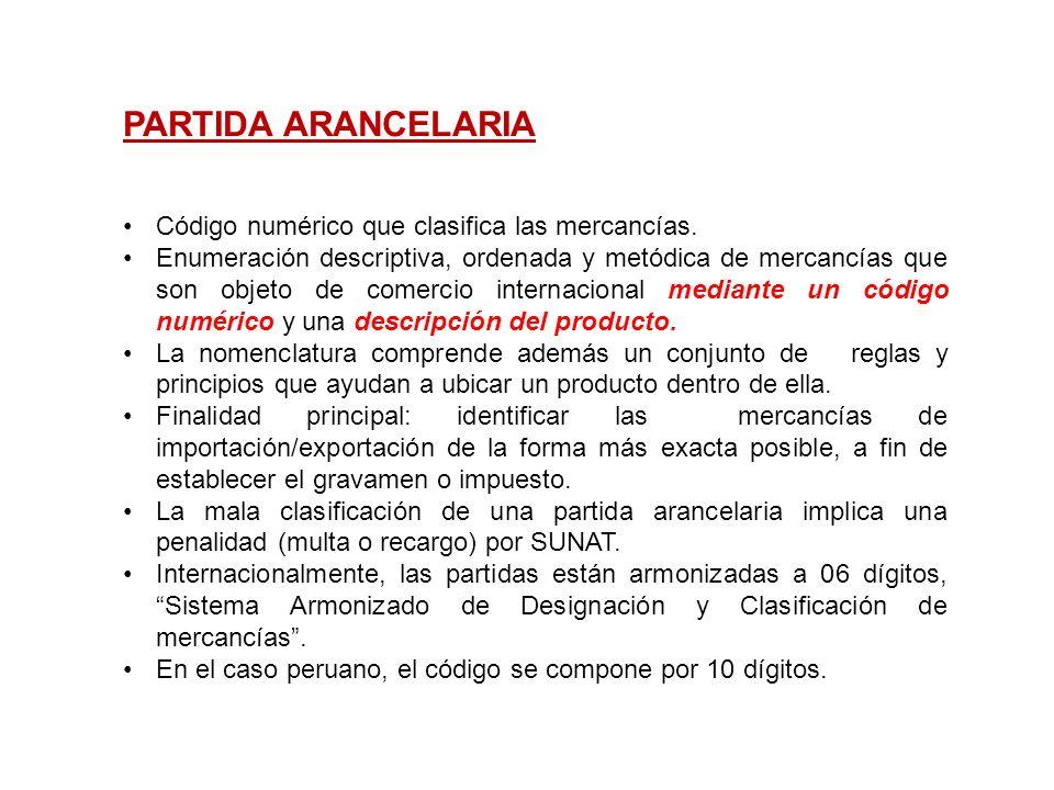 PARTIDA ARANCELARIA Código numérico que clasifica las mercancías. Enumeración descriptiva, ordenada y metódica de mercancías que son objeto de comerci