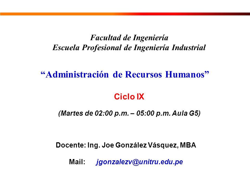Administración de Recursos Humanos Facultad de Ingeniería Escuela Profesional de Ingeniería Industrial Docente: Ing. Joe González Vásquez, MBA Mail: j