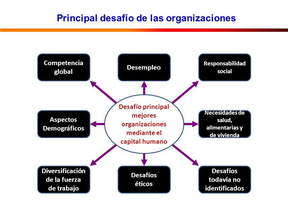Principal desafío de las organizaciones Desafío principal mejores organizaciones mediante el capital humano Desempleo Desafíos éticos Necesidades de salud, alimentarias y de vivienda Aspectos Demográficos Responsabilidad social Desafíos todavía no identificados Competencia global Diversificación de la fuerza de trabajo