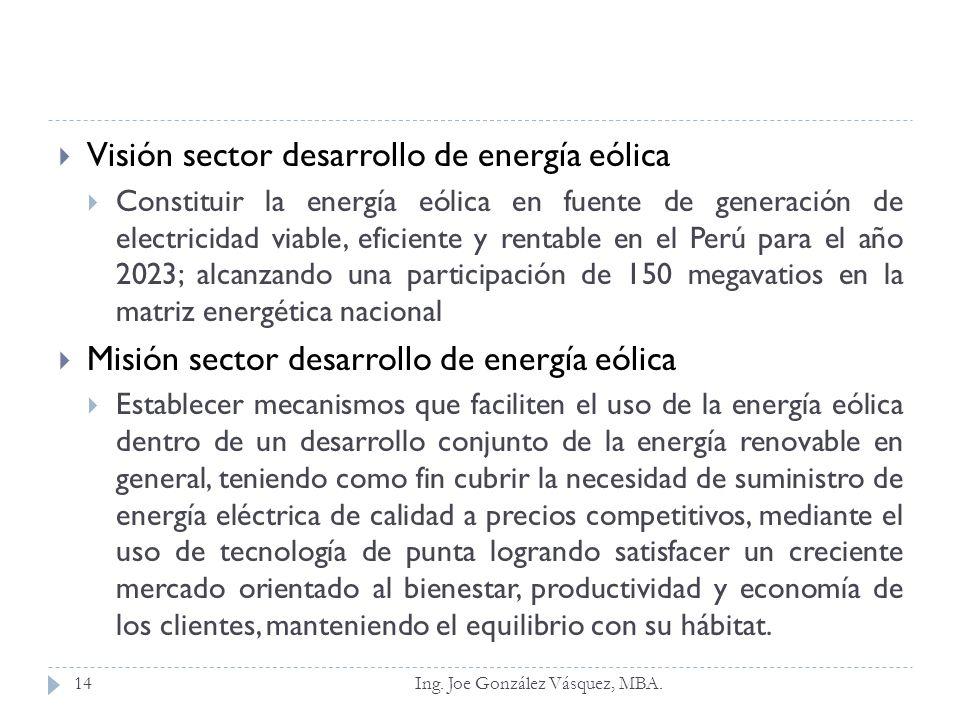 Visión sector desarrollo de energía eólica Constituir la energía eólica en fuente de generación de electricidad viable, eficiente y rentable en el Per