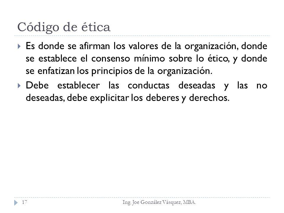 Código de ética Es donde se afirman los valores de la organización, donde se establece el consenso mínimo sobre lo ético, y donde se enfatizan los pri