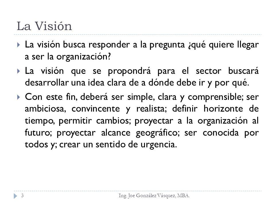 La Visión La visión busca responder a la pregunta ¿qué quiere llegar a ser la organización? La visión que se propondrá para el sector buscará desarrol