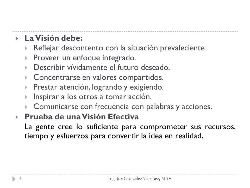 La Visión debe: Reflejar descontento con la situación prevaleciente. Proveer un enfoque integrado. Describir vívidamente el futuro deseado. Concentrar