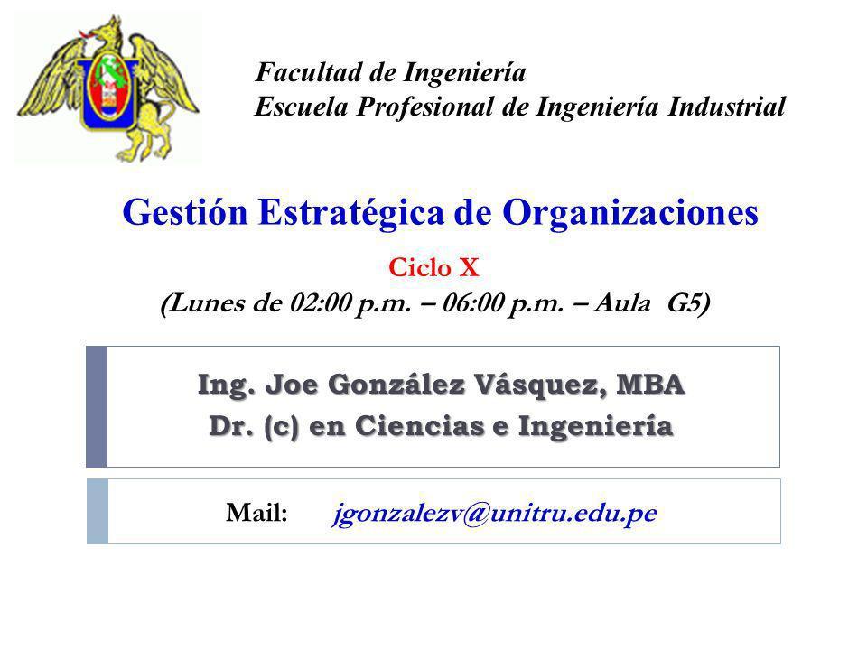 Ing. Joe González Vásquez, MBA Dr. (c) en Ciencias e Ingeniería Facultad de Ingeniería Escuela Profesional de Ingeniería Industrial Gestión Estratégic