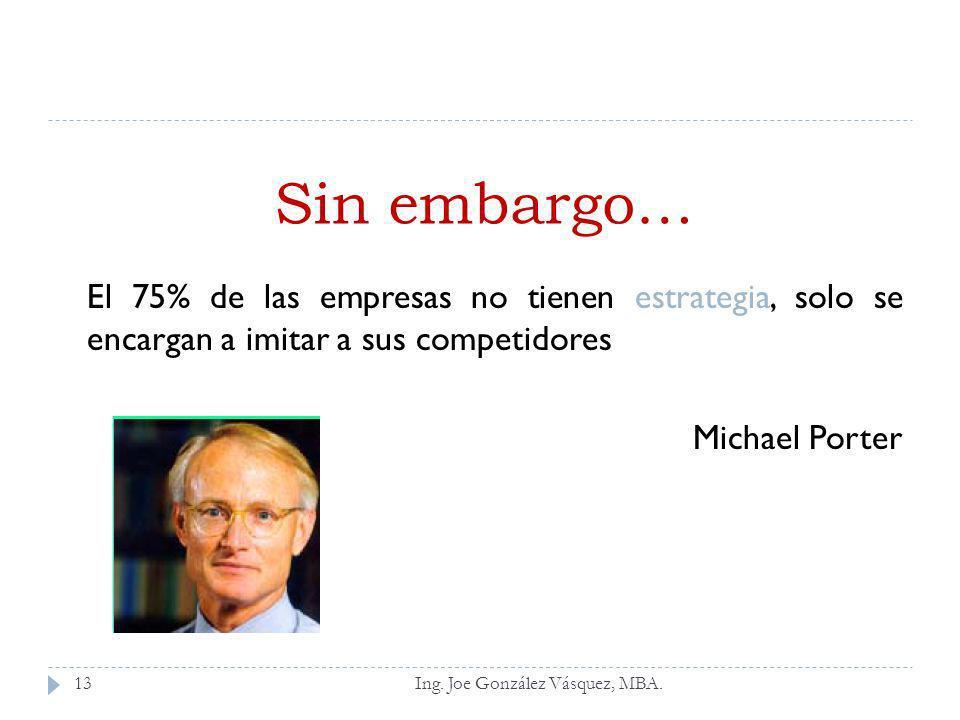Ing. Joe González Vásquez, MBA. El 75% de las empresas no tienen estrategia, solo se encargan a imitar a sus competidores Michael Porter Sin embargo…