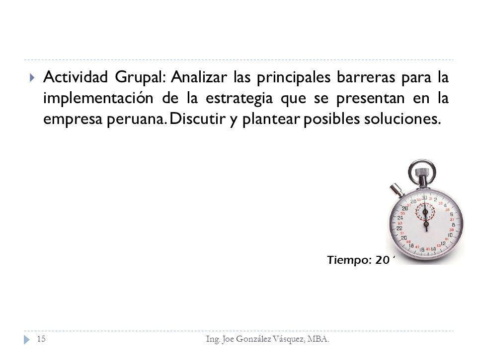 Actividad Grupal: Analizar las principales barreras para la implementación de la estrategia que se presentan en la empresa peruana. Discutir y plantea
