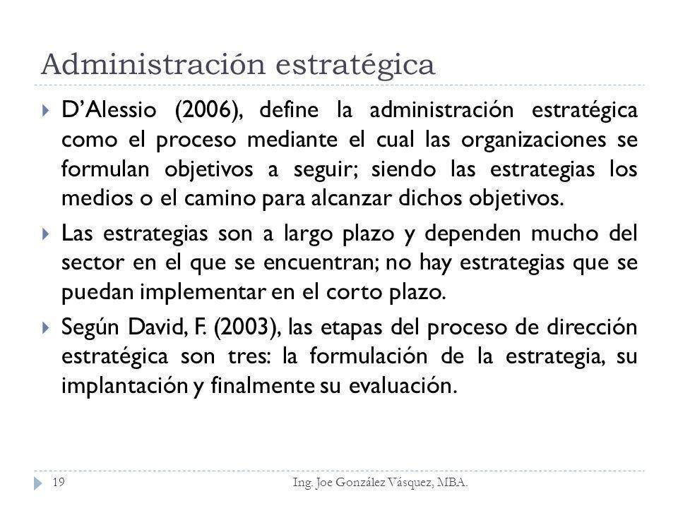 Administración estratégica DAlessio (2006), define la administración estratégica como el proceso mediante el cual las organizaciones se formulan objet