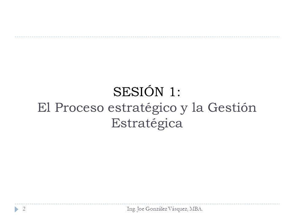 SESIÓN 1: El Proceso estratégico y la Gestión Estratégica Ing. Joe González Vásquez, MBA.2
