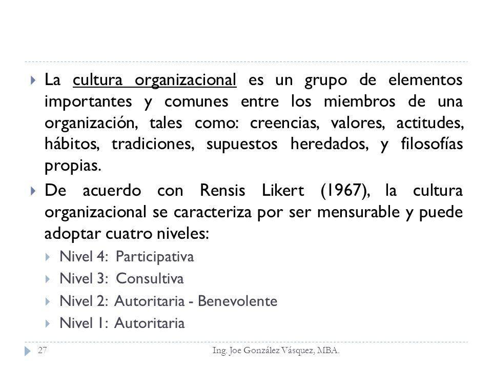 La cultura organizacional es un grupo de elementos importantes y comunes entre los miembros de una organización, tales como: creencias, valores, actit