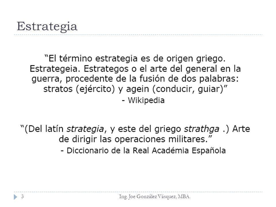 Estrategia Hax y Majluf (1991) desarrollan un conjunto de formas bajo las cuales puede ser entendida la estrategia: Es un patrón de decisiones coherente, unificado, e integrador.