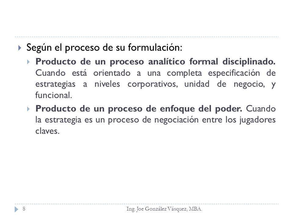 Según el proceso de su formulación: Producto de un proceso analítico formal disciplinado. Cuando está orientado a una completa especificación de estra
