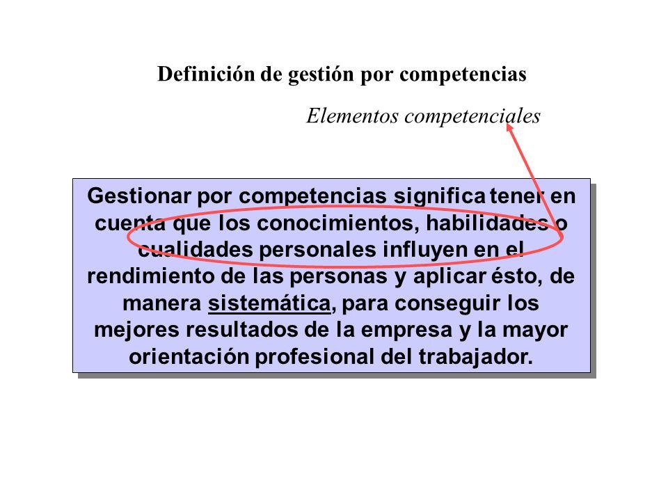 Gestionar por competencias significa tener en cuenta que los conocimientos, habilidades o cualidades personales influyen en el rendimiento de las pers