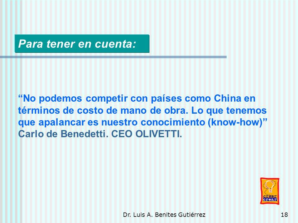 Dr. Luis A. Benites Gutiérrez18 Para tener en cuenta: No podemos competir con países como China en términos de costo de mano de obra. Lo que tenemos q