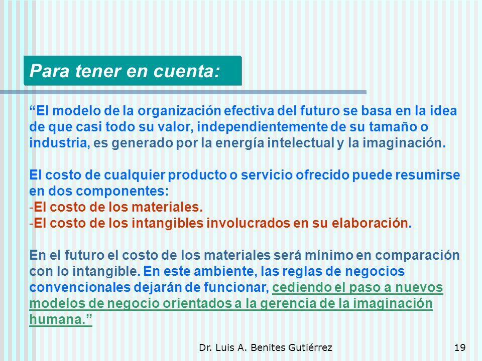 Dr. Luis A. Benites Gutiérrez19 El modelo de la organización efectiva del futuro se basa en la idea de que casi todo su valor, independientemente de s