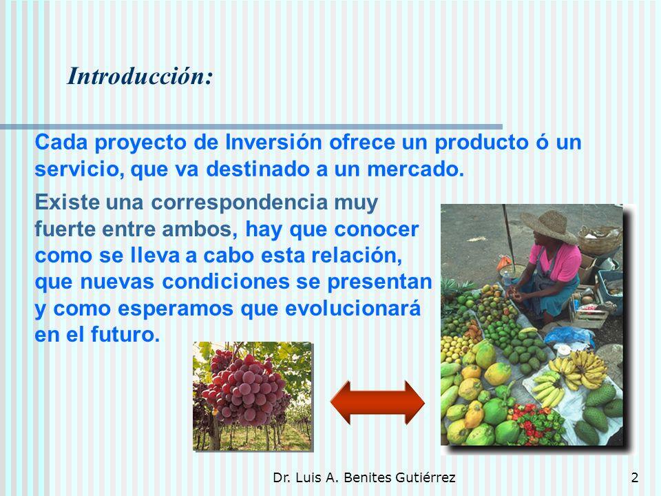 Dr. Luis A. Benites Gutiérrez2 Introducción: Cada proyecto de Inversión ofrece un producto ó un servicio, que va destinado a un mercado. Existe una co