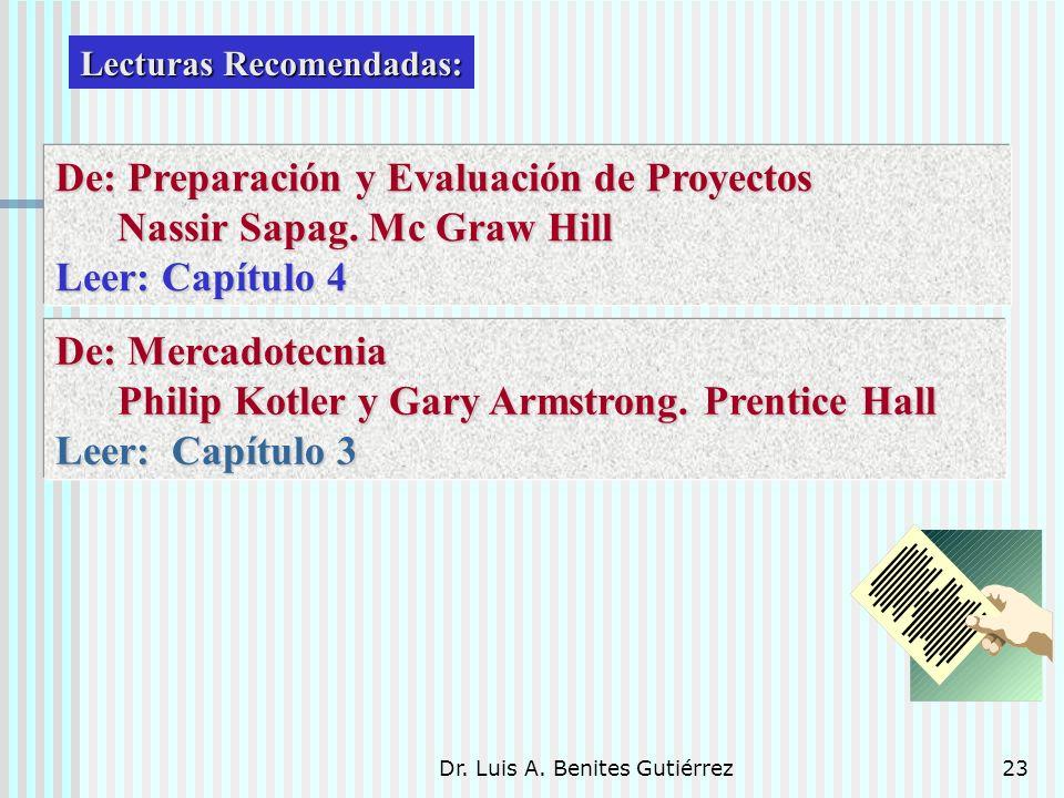 Dr. Luis A. Benites Gutiérrez23 Lecturas Recomendadas: De: Preparación y Evaluación de Proyectos Nassir Sapag. Mc Graw Hill Nassir Sapag. Mc Graw Hill