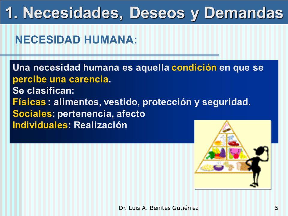 Dr. Luis A. Benites Gutiérrez5 Una necesidad humana es aquella condición en que se percibe una carencia. Se clasifican: Físicas : alimentos, vestido,