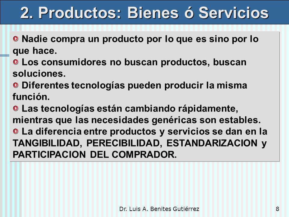 Dr. Luis A. Benites Gutiérrez8 Nadie compra un producto por lo que es sino por lo que hace. Los consumidores no buscan productos, buscan soluciones. D