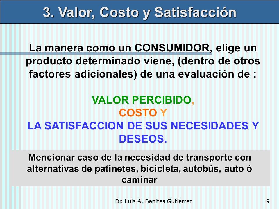 Dr. Luis A. Benites Gutiérrez9 La manera como un CONSUMIDOR, elige un producto determinado viene, (dentro de otros factores adicionales) de una evalua
