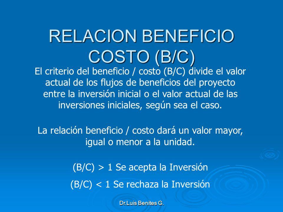 El criterio del beneficio / costo (B/C) divide el valor actual de los flujos de beneficios del proyecto entre la inversión inicial o el valor actual d