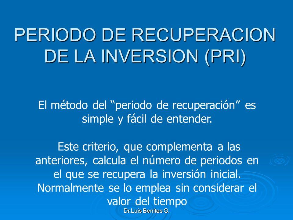 El método del periodo de recuperación es simple y fácil de entender. Este criterio, que complementa a las anteriores, calcula el número de periodos en
