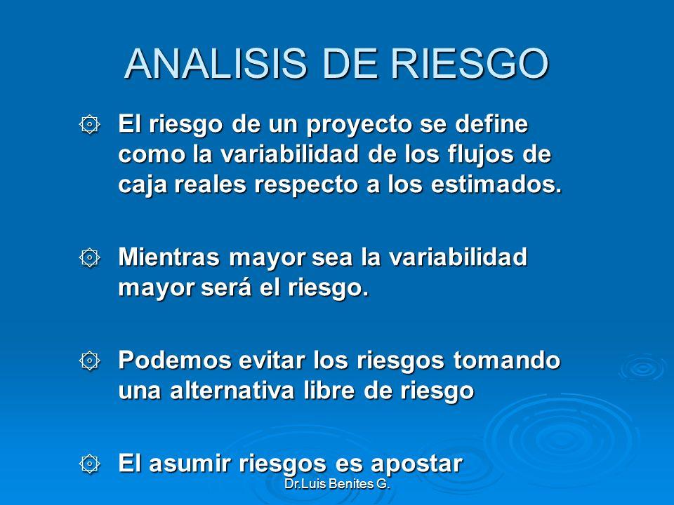 ANALISIS DE RIESGO ۞ El riesgo de un proyecto se define como la variabilidad de los flujos de caja reales respecto a los estimados. ۞ Mientras mayor s