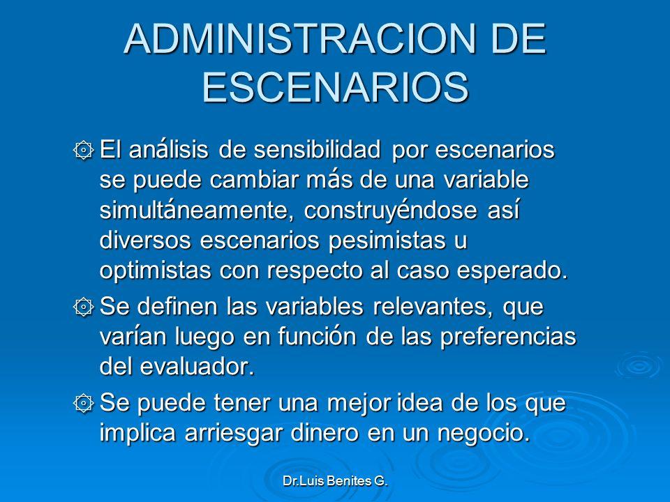 ADMINISTRACION DE ESCENARIOS ۞ El an á lisis de sensibilidad por escenarios se puede cambiar m á s de una variable simult á neamente, construy é ndose