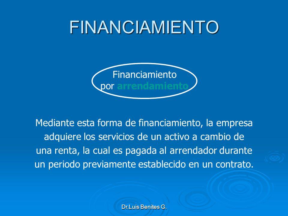 Financiamiento por arrendamiento Mediante esta forma de financiamiento, la empresa adquiere los servicios de un activo a cambio de una renta, la cual