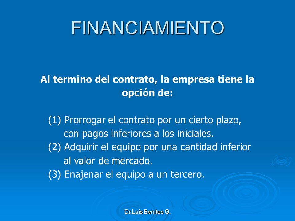 Al termino del contrato, la empresa tiene la opción de: (1) Prorrogar el contrato por un cierto plazo, con pagos inferiores a los iniciales. (2) Adqui