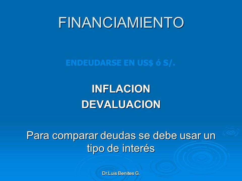 FINANCIAMIENTO INFLACIONDEVALUACION Para comparar deudas se debe usar un tipo de interés ENDEUDARSE EN US$ ó S/. Dr.Luis Benites G.