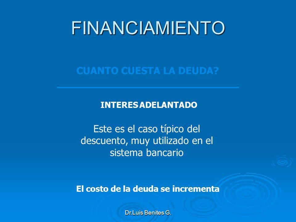 INTERES ADELANTADO Este es el caso típico del descuento, muy utilizado en el sistema bancario El costo de la deuda se incrementa FINANCIAMIENTO CUANTO
