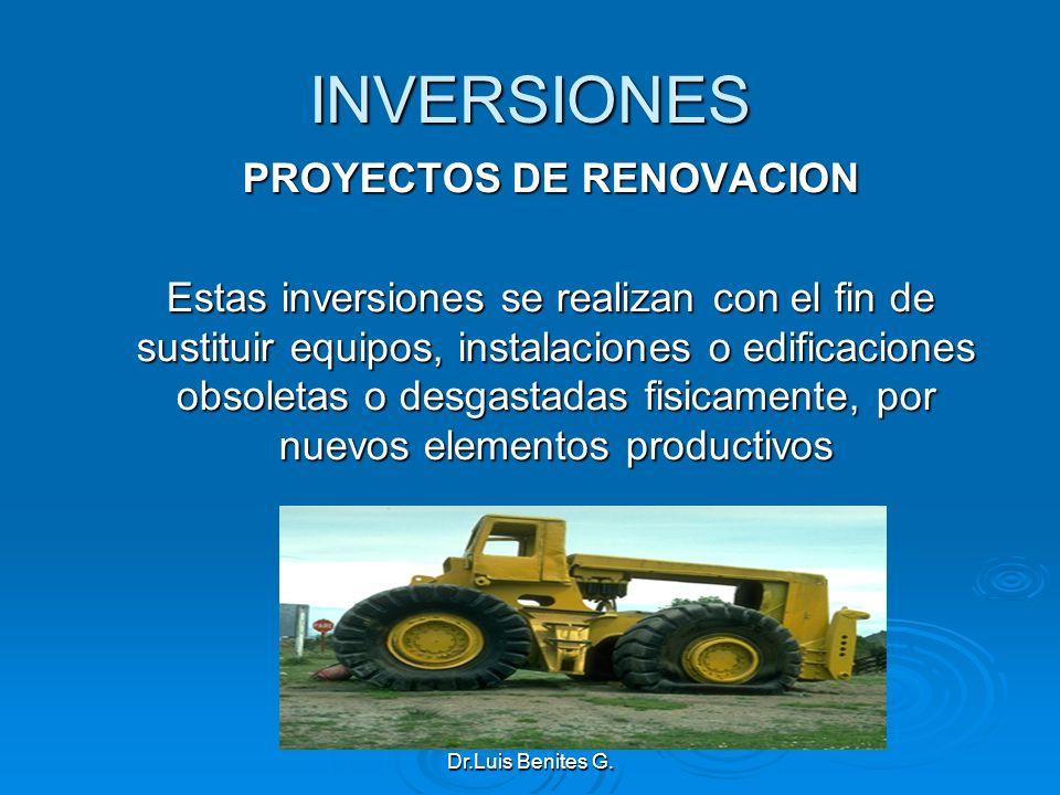 INVERSIONES PROYECTOS DE RENOVACION Estas inversiones se realizan con el fin de sustituir equipos, instalaciones o edificaciones obsoletas o desgastad