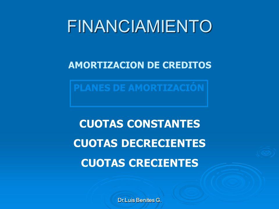 PLANES DE AMORTIZACIÓN CUOTAS CONSTANTES CUOTAS DECRECIENTES CUOTAS CRECIENTES FINANCIAMIENTO AMORTIZACION DE CREDITOS Dr.Luis Benites G.